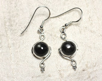 BO213 - Pierced ears 925 sterling silver and stone Black Star Diopside star round spirals 30 mm