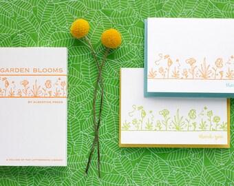 Garden Blooms - eight letterpress note cards