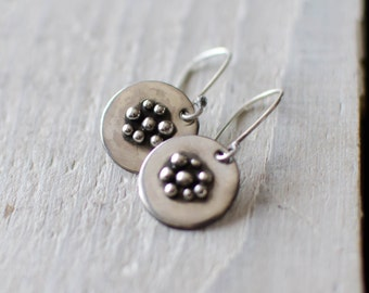 earring silver solid minimalist, delicate, small loop ball, Bohemian