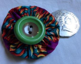 Handmade fabric Yoyo brooch/corsage