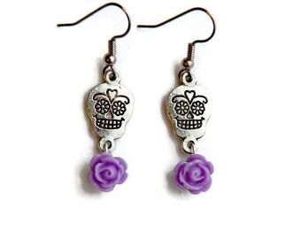 Sugar Skull and Purple Rose Earrings - Lavender and silver - Day of the Dead - Dia de los Muertos - Halloween - Rockabilly - Nickel Free