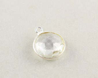 Sterling Silver Clear Quartz Round Charm, Silver Gemstone Charm, 15mm Stone Charm, One