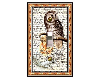 0290X - Collage Owl switch plate - - mrs butler switchplates -