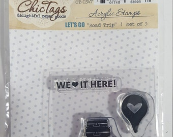 ChicTags acrylic stamp - Let's Go - Road Trip