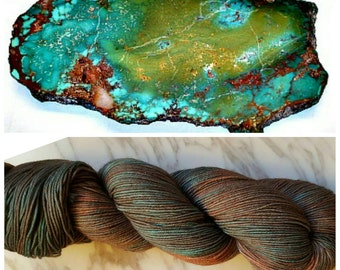 Hand Dyed Yarn, Merino and Nylon Fingering Weight Sock Yarn Perfect for Socks, Shawls, Other Lightweight Accessories - Rusted Turquoise