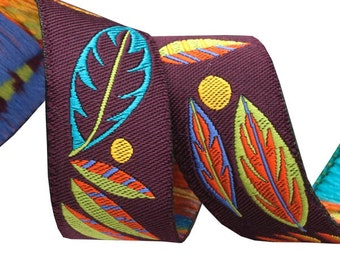 7/8-inch woven jacquard ribbon, fall leaves on eggplant
