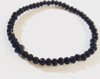 Black Bracelet   Faceted Glass Beads   Stackable Bracelet   Stretch Bracelet   Bead Bracelet   Armcandy