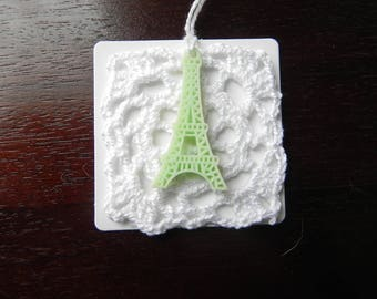3 glass square 6 cm EIFFEL Tower vintage labels/markings