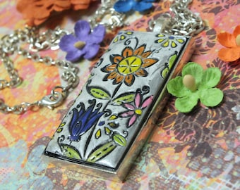 Funky Colorful Flower Pendant Necklace Polymer Clay Jewelry, Orange Yellow White Lime Green Blue, Boho Hippie Whimsical Fun Jewelry