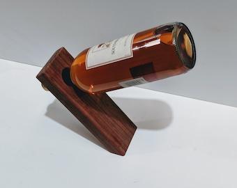 Balancing Wine Bottle Holder, Paduak Wood, Great Housewarming Gift