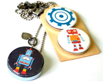 Robot Locket Necklace, Boy Necklace, Family Picture Inside, First Day of School Gift for Child, Recycled by Polarity