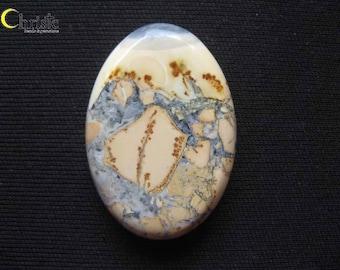 Maligano Cherry Blossom Picture Jasper Cabochon Thick Oval 26x38x8mm