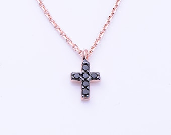Rose Gold Cross Necklace, Extra Tiny Cross, Greek Silver Rose Gold Necklace, Cross Charm, Religious Jewelry, Black Cubic Zirconia Cross