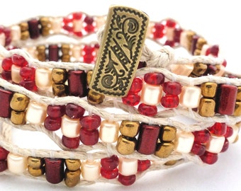 Handmade Four Wrap Hemp Wrap Bracelet with Red and Gold Glass Seed Beads, Red Metallic Finish Glass Beads, and Cream Glass Pearl Barrels