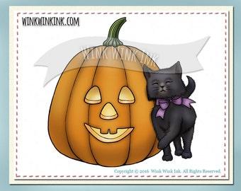 Digital Stamp - Purrfect Pumpkin - kitten and smiling  jack-o-lantern digistamp