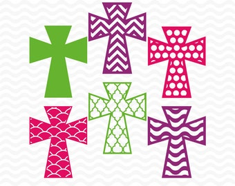 Easter Cross svg files, SVG, DXF, EPS, svg cutting files for use with Silhouette Studio Designer Edition and Cricut Design space. Set 1