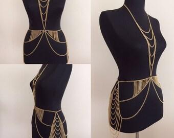 Gold-Körper-Kette, Gold-Körper-Schmuck, geschichtet Körper Kette, Kette-Körper-Harness, BDC1033-02