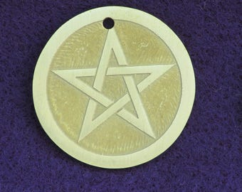 Pagan Jewelry - Handmade Pentacle Pendant Etched in Brass - Ready to Ship