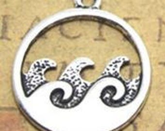 Ocean Wave Charm - Silver Pendant Set of 5 - 20mm x 23mm Disc Charms - Jewelry Making