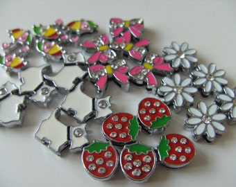 SALE, 5 beads, shoe lace charms, Umbrella, strawberry, pink bow, daisies, by NewellsJewels on etsy