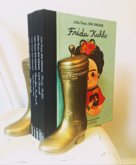 Pair of Vintage Brass Gold Cowboy Boot Bookends - Gold Boho Home Decor - Brass Riding Boot - Cowgirl Bookends