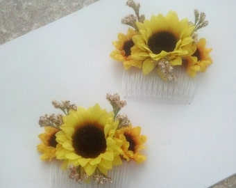 Weddings hair accessories Sunflower comb fall Bridal International shipping artificial babys breath Bridal party budget bride spring