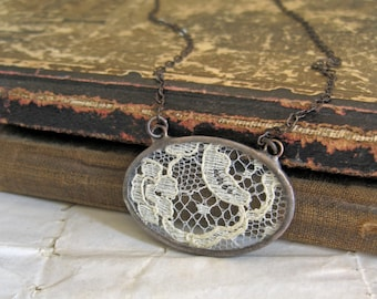 Remembered  Lace Necklace Jewelry Bib Vintage Wedding