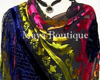 Silk Burnout Velvet Piano Shawl Wrap Scarf Tye Dye Blue Maya Matazaro
