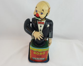 Bobo the Magician Vintage Metal Toy--Needs Minor Work  -- Free Shipping