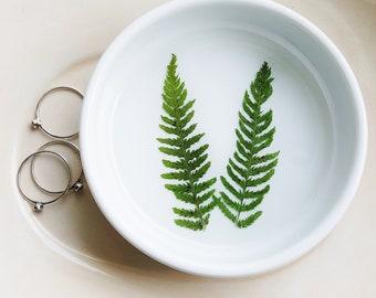 Garden Fern Ring Dish, Ceramic Dish, Ring Dish, Botanical Gift, Jewelry Organizer, Engagement Ring Dish