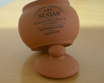Henry Watson Pottery terra cotta sugar bowl with lid. The original Suffolk bowl.