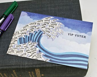 Blue Wave Tsunami Postcards for Voters - Set of 60 - Voter Postcards - Get out the Vote - Postcards -  Political Postcard - Original Artwork