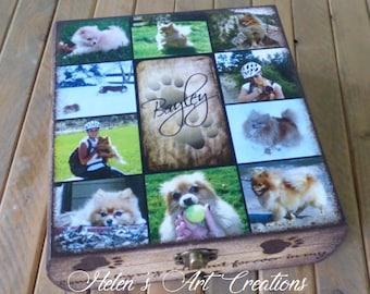 Pet Memorial Box, Memory Box, Keepsake Box, Dog Urn, Personalized Urn, Pet Collage, Custom Pet Photo,Pet Urn, Helens Art Creatiosns