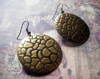 Bronze Disc Earrings Dangle Earrings Cobblestone Earrings Large Disc Earrings Domed Disc Bronze Earrings