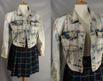 vintage 80s Jean Jacket. 1980s Acid Washed Jacket. Womens Cropped Jacket. Stonewashed Denim Jacket. Blue Jean Jacket. Crayon Jacket. size S