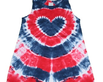 Tie Dye Dress in Red, White and Blue with a Navy Blue Heart