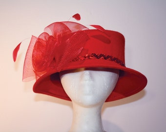 Women's Red Wool Wide Brim Hat with Bow and Feathers