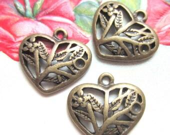 12 Heart charms antique bronze metal  heart pendants filigree 18mm x 17mm  A9918