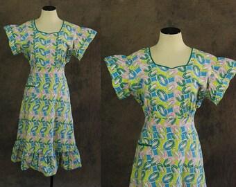 Jahrgang der 30er Jahre Tageskleid - 1930er Jahre Art Deco Print Baumwolle Kleid Neuheit Druck Haus Kleid Sonne Kleid Sz M L