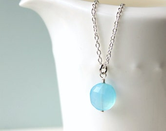 Blue Chalcedony Solitaire Necklace / Gemstone Silver Necklace / Sterling Silver Chain / Sky Blue Gemstone / Gemstone Jewelry