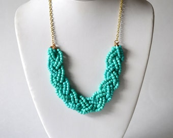 Teal Beaded Braid Statement Necklace, Teal Necklace, Teal Jewelry, Beaded Jewelry, Aqua Blue Necklace, Gift for Her, Statement Jewelry