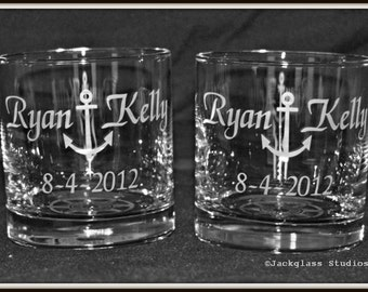 Personalized Etched Nautical Wedding Anchor Rocks Glasses  Pair for the Couple, Engagement Party, Couples Bar by Jackglass on Etsy