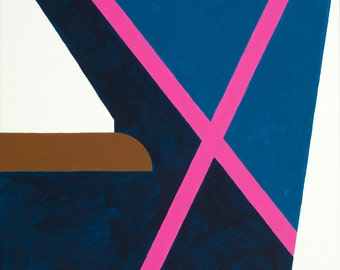 """Abstract Original Acrylic painting  Geometric painting """"Pink Cross"""" 24H x 18W from Art Factory Gallery"""