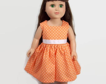 American Doll Dress - Orange and White Polka Dot Dress - Made to Fit 18 Inch Dolls Like American Girl Doll Clothes