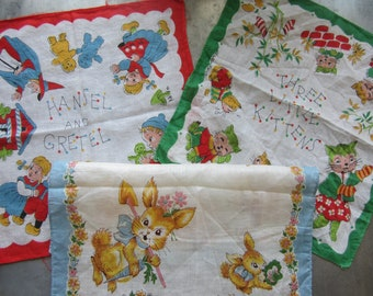 Vintage Child's Handkerchiefs Lot of 3 Hansel and Gretel, Three Little Kittens and Springtime Bunny Graphics Charming Graphics