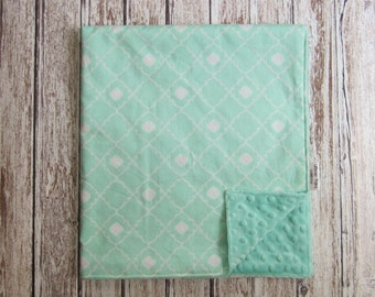 Mint Green Baby Blanket, Minky Baby Blanket, Mint Green Geometric Baby Blanket
