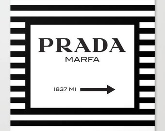 Prada Marfa, Fashion Print or Canvas, Fashion Illustration, Square Print, Black and White Wall Art, Fashion Art, Canvas Art, Gift for Her