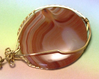 Wire Wrapped Handmade Gold-Filled Vintage Agate Pendant, orange agate, red agate, mothers day gift, gold pendant, antique pendant