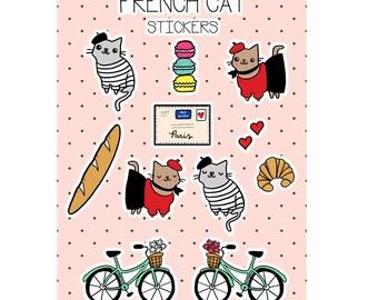 Cat Stickers French Cats Cute Sticker Sheet Cute Gift Paris Cats