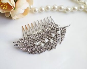 Silver crystal feather Hair Comb, Crystal leaf comb, pearl feather wedding hair comb, pearl hair piece comb, 39